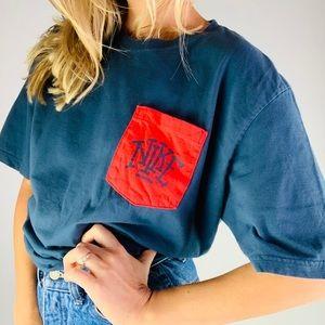 Nike navy red logo pocket Crewneck Tee Shirt xl